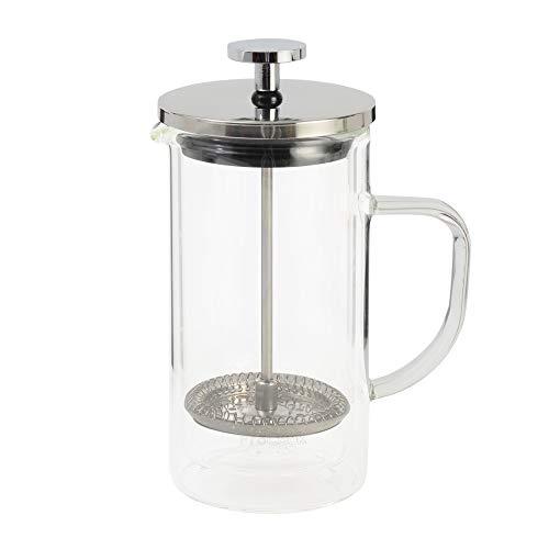 ProCook Kaffeebereiter aus Glas - doppelwandig - Thermo - isoliert- groß- mit Stay Cool Griff und Glas - French Press - 8 Tassen, 1 l