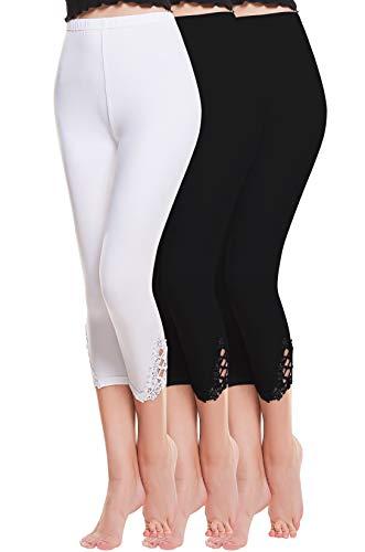Vertvie damen 3/4 Länge Leggings mit Spitzenabschluß Hollow mit strass casual Modal Caprihose Strumphosen Stretch pants Einheitsgröße...