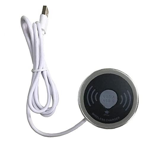 YepYes Cargador inalámbrico Incorporado en el Escritorio 15W estación de Carga rápida con Puerto USB Impermeable del teléfono Soporte de la Almohadilla