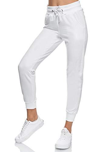 Smith & Solo Jogginghose Damen – Sporthose Frauen Baumwolle |Sweatpants Slim Fit Freizeithose Lang | Trainingshose Fitness High Waist – Jogger Laufhosen Modern (S, Weiß)