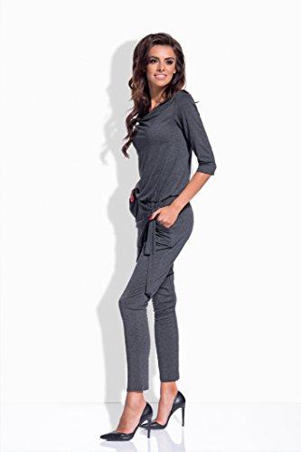 Lemoniade eleganter Jumpsuit mit 3/4-Ärmel und elegantem Wasserfallkragen, dunkelgrau - 3