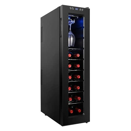 VIY 16 Botella Freestanding Wine Cooler refrigerador Frigorífico de Vino con Acero Inoxidable, Puerta de Vidrio Templado en Capas Triple, Control de un Solo Toque electrónico con Pantalla LED
