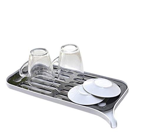 Double Layer Sink afdruiprek fruit/groente Drainer Rack Drain Board met schenktuit kleine schotel drogen Storage Rack for keuken (Color : White)