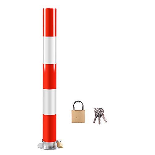 XGGYOOG Absperrpfosten rund Poller zur Sperre von Parkplatz, Einfahrt Mit Schloss & Bolzen/Als zeigen / 7.6×75cm