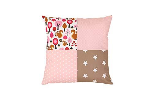 Funda patchwork para cojín de ULLENBOOM ® con beige ardilla (funda para cojín de 40x40 cm; 100% algodón; ideal como cojín decorativo para la habitación de los niños)