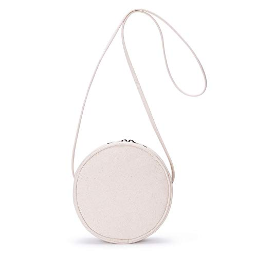 Canvas Small Crossbody Bags for Women Circle Purse Shoulder Round bag