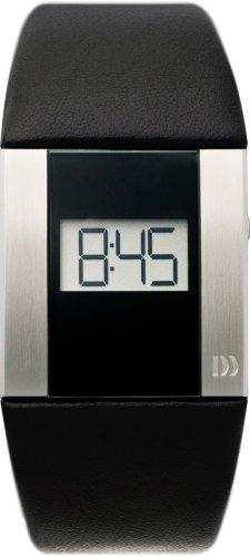 Danish Design Anna Gotha - Reloj digital de mujer de cuarzo con correa de piel negra (Fecha) - sumergible a 30 metros