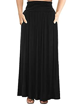 ALLEGRACE Women s Plus Size Shirring High Waist Pleated Long Maxi Skirt with Pockets Black 4X