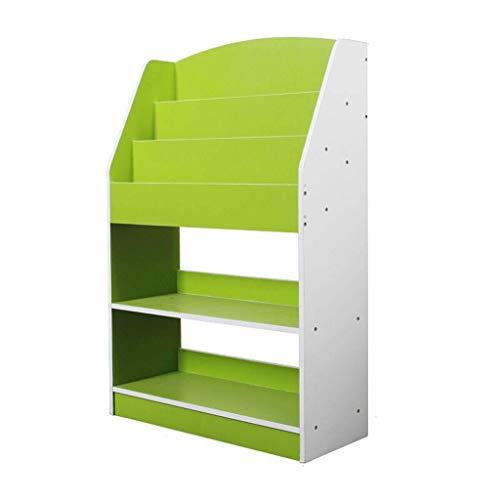 OMING Armarios y estantería Estantería de 3 Niveles Niños librero niños de Juguete Estante de Almacenamiento en Rack Libro Multicolor Sala de Juegos estantería estantes de Madera (Color : Green)