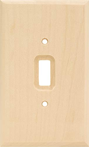 Brainerd 64673 Wood Square Single Toggle Switch Wall Plate / Switch Plate / Cover, Unfinished