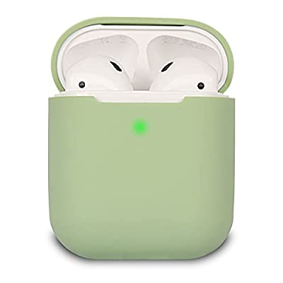 Airpods Case Cover Compatible with AirPods 2, KOKOKA Silicone Shockproof Airpods Case Cover [Front LED Visible][Support Wireless Charging] -Matcha Green from Kokoka