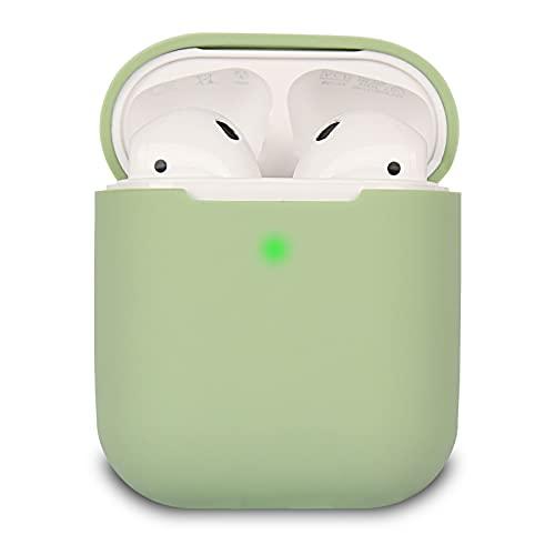 Airpods Schutzhülle Hülle Kompatibel mit AirPods, KOKOKA Silikon AirPods Schutzhülle hülle [LED an der Frontseite Sichtbar] für AirPods Matcha Green