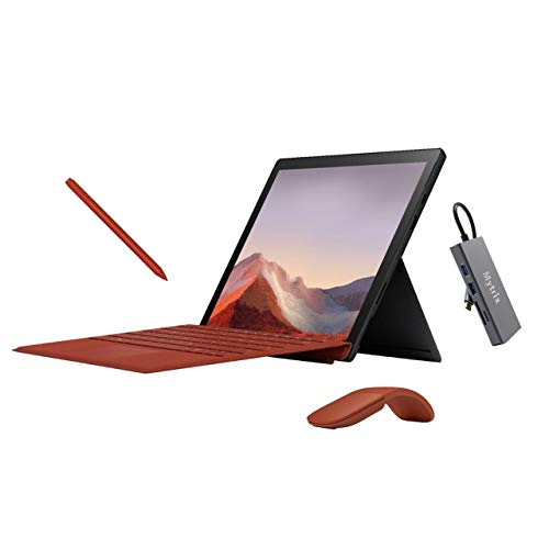 Microsoft Surface Pro 7 2 in 1 12.3' (2736 x 1824) Touchscreen Tablet Black, Intel Core i5, 8GB RAM, 256GB SSD, Webcam, Win 10 w/Type Cover, Arc Mouse, Surface Pen, USB-C Hub - Poppy Red