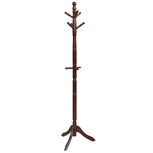 Tangkula Wood Coat Rack, Entryway Height Adjustable Coat...