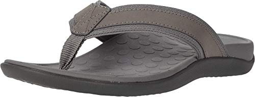 Vionic Men's Tide Toe-post Sandal - Flip Flop with Concealed Orthotic Arch Support Charcoal 14 Medium US