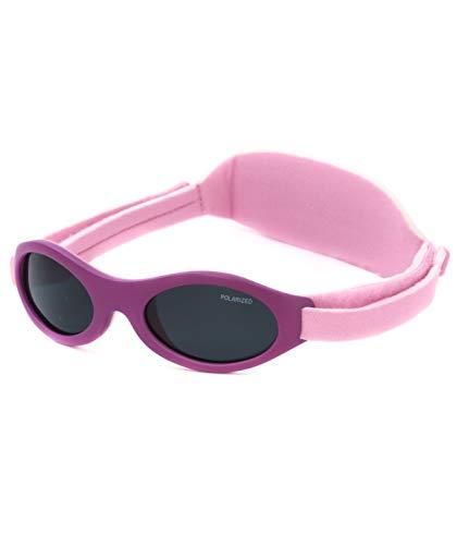 Kiddus Gafas de sol PREMIUM POLARIZADAS para bebé. 0meses a 2años. UV400 100% protección rayos UVA y UVB. Suave puente de SILICONA para la nariz. Banda ajustable de NEOPRENO (18 Lila mate)