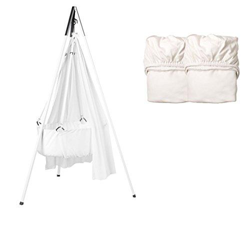 Peser Set – Berceau avec voile, trépied et Lot de 2 draps housse