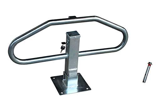 Barrera parking abatible manual con cerradura para bloqueo aparcamiento. Bolardo protección plegable...