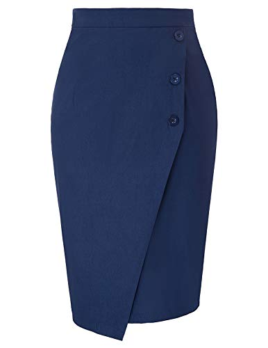GRACE KARIN Women Business Pencil Skirts Bodycon Party Skirt Navy L
