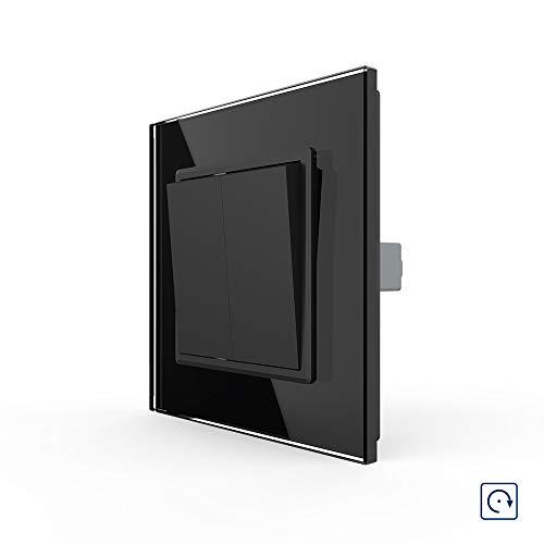 LIVOLO Schwarz Lichtschalter Kipp-/ Wippschalter mit Glasrahmen VL-K1-12-A