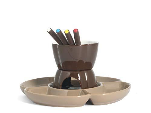 Home Chocolat Set Fonduta Cioccolato per 4 Persone, Marrone