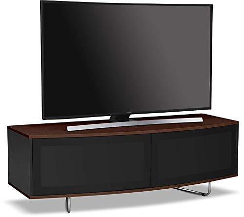 Centurion Supports Caru Meuble TV à LED/OLED/LCD avec faisceau en noyer et noir brillant Walnut Walnut Black