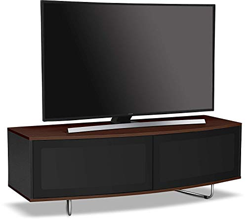 Centurion Supports Caru Gloss Black and Walnut Beam-Thru Remote Friendly Super-Contemporaneo Forma 'D' 32'-65' - Mobile TV LED/OLED/LCD Walnut Walnut Black