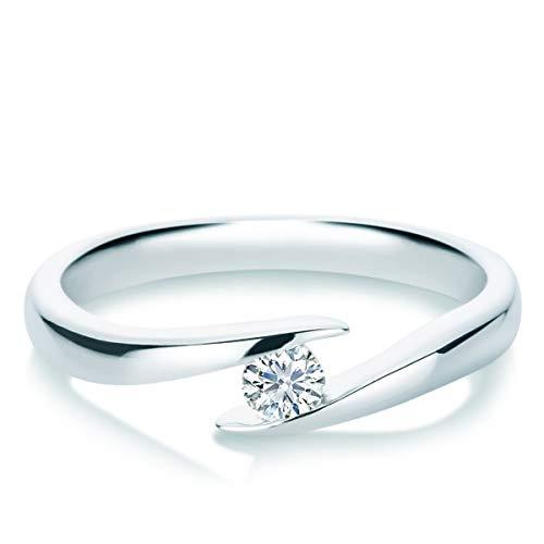 Tresor 1934 Damen-Ring Diamant 0,15 Weißgold Spannring Twistring Verlobungsring