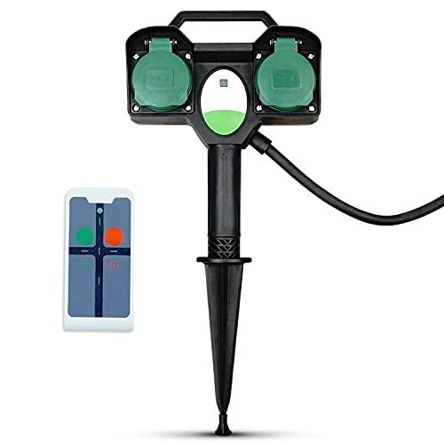 PerfectHD Gartensteckdose - Funksteckdosen mit Fernbedienung außen - Mehrfachsteckdose - IP44 - mit Erdspieß - schwarz - 14 Varianten