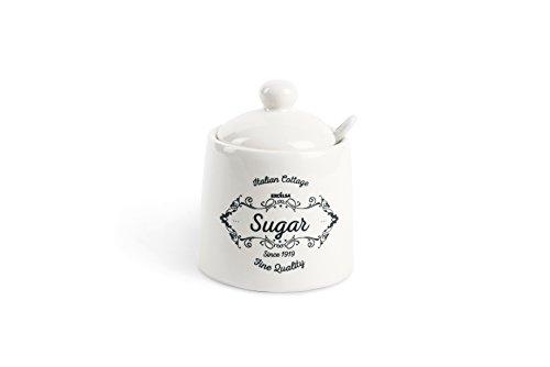 Excelsa Fine Quality Zuccheriera con Cucchiaino, Ceramica, Bianco Avorio, capacità: ml.150