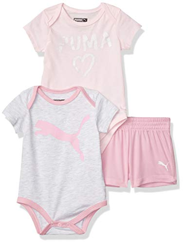 PUMA Baby Girls' Bodysuit and Short Set, White Heather, 3-6M