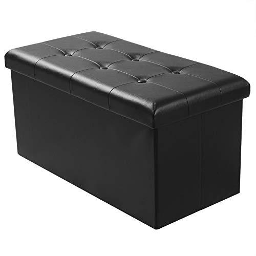 WOLTU Sitzhocker mit Stauraum Sitzbank Faltbar Truhen Aufbewahrungsbox, Deckel Abnehmbar, Gepolsterte Sitzfläche aus Kunstleder, belastbar bis 300KG, 76x37,5x38CM, Schwarz, SH16sz