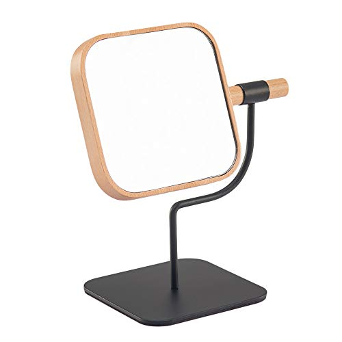 YEAKE Makeup Desk Mirror Wooden &Metal Bracket Cosmetic Vanity Mirror,360°Rotation 3X Magnification Countertop Mirror for Makeup 04 Square