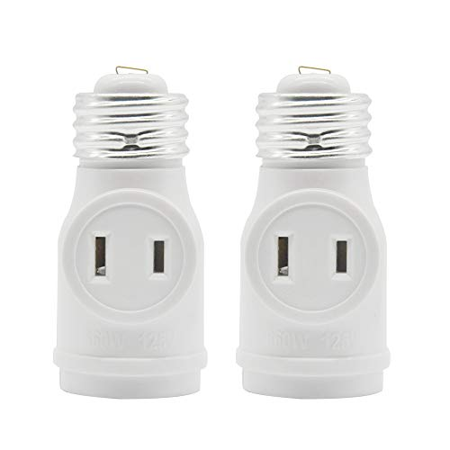 2 Outlet Light Socket Adapter, E26 Bulb Socket to Outlet Splitter,Converts Medium Screw Socket into a Socket with Two outlets,Polarized Outlet.UL Listed,White (2-Pack)