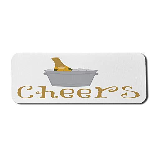 Champagner-Computer-Mauspad, Prost Typografisches Layout Zeit zum Feiern Cocktail-Elemente Eis in einem Eimer, Rechteck rutschfestes Gummi-Mousepad Großer blasser Kaffee grau