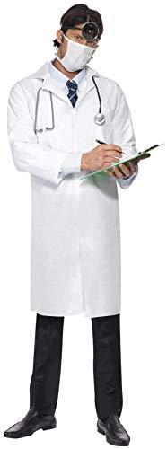 Smiffys 22192XXL - Herren Doktor Kostüm, Langer Kittel und Mundschutz, Größe: XXL, weiß