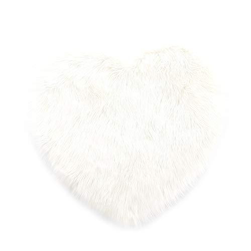 Herz Kunstfell Schaffell Lammfell Bett-Vorleger Teppich | Wohnzimmer Schlafzimmer Kinderzimmer | Für Couch Stuhl Sofa (Weiß - 75 x 80 cm)