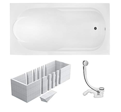 VBChome Badewanne 180x80 cm Acryl SET 3in1 Wannenträger Siphon Wanne Rechteck Weiß Design Modern Styroporträger Ablaufgarnitur in Chrom Viega Simplex