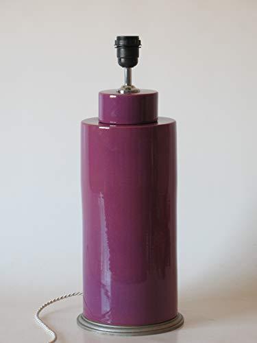 POLONIO Lámpara de Ceramica Sobremesa Grande de Salon Color Morado de 50 cm E27, 60 W - Pie de Lámpara de Cerámica Morado - Jarrón de Ceramica Morado.