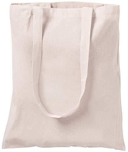 Bolsa tote de algodón natural, para ir de compras, 10 unidades Marfil blanco crema