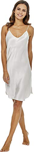 Jadee Damen Seiden Nachthemd Nachtkleid Negligee aus 100% Seide - Off White - S -