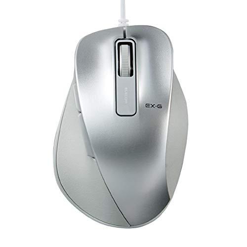 エレコム マウス 有線 Mサイズ 5ボタン(戻る・進むボタン搭載) BlueLED 握りの極み シルバー M-XGM10UBSV/EC