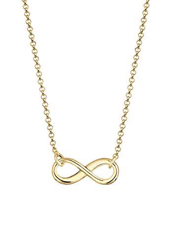 Elli PREMIUM Halskette Damen Infinity Unendlichkeit Symbol in 375 Gelbgold