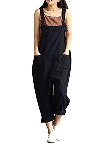 Aedvoouer Womens Casual Loose Bib Baggy Overalls Jumpsuit Pants Plus Size Romper(M,Black)