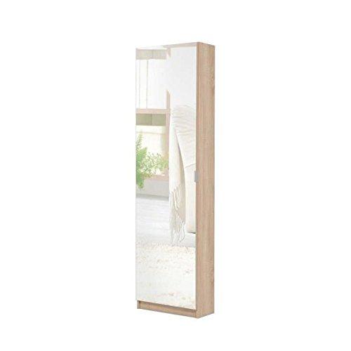 Spiegelschuhschrank, Schuhschrank mit Spiegeltür (B/H/T: 50 x 180 x 20), sonoma eiche
