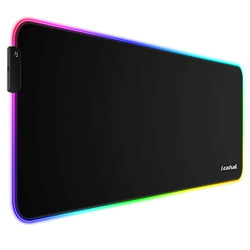 LeadsaiL RGB Gaming Mouse Pad, 15 Light Modes LED Soft Extra Extended Large Mousepad, Non-Slip Rubber Base Computer Keyboard Mouse Mat with Durable Stitched Edges- 31.5 X 12 Inch (RGB Black)