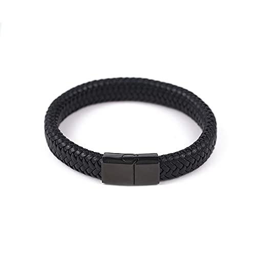 irugh Pulsera de Cuero Premium para Hombre en Negro   Cerradura Magnética de Acero Inoxidable en   Gran Idea de Regalo