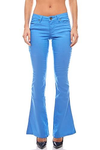 AJC Bootcut Jeans Hose Sommer-Hose Skinny Kurzgröße Damen Blau, Größenauswahl:36 (18 Kurzgröße)