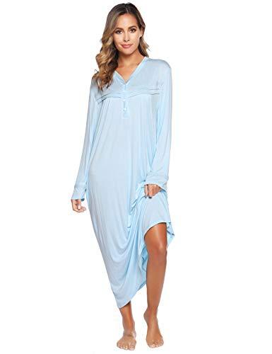 Vlazom Chemise de Nuit Femme Manches Longues Grande Taille avec Boutons sur Le Devant,XL,Bleu Clair
