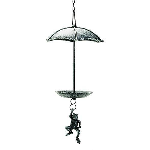 Sungmor Mangeoire à oiseaux en fonte robuste à suspendre - Couleur verte vintage - Jolie statue de grenouille à suspendre - Décoration de jardin pratique et décorative